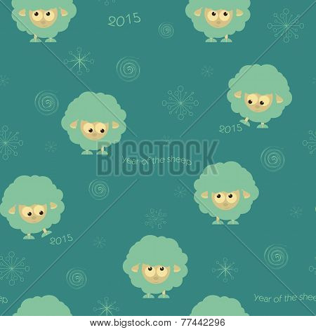 Seamless pattern with funny sheep and hearts