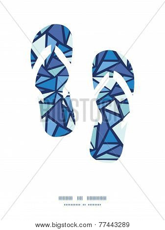 Vector abstract ice chrystals flip flops silhouettes pattern frame