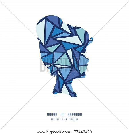 Vector abstract ice chrystals girl portrait silhouette pattern frame