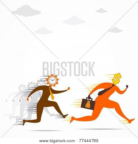 time follow or compete the money concept vector