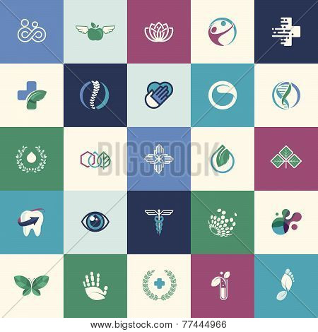 Set of flat design icons for medicine