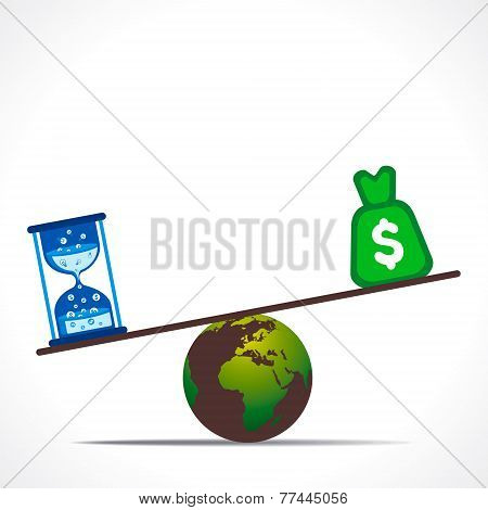 dollar currency and sand clock weighing on earth concept vector