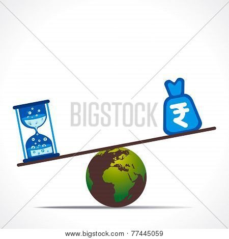 sand clock and rupee bag weighing on earth concept vector