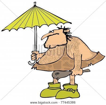 Caveman holding an umbrella