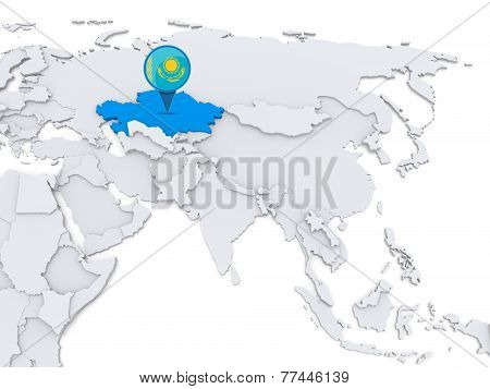 Kazakhstan On A Map Of Asia