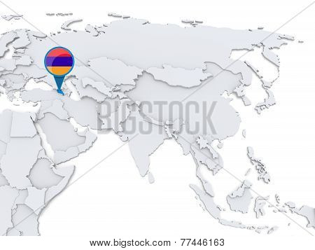 Armenia On A Map Of Asia