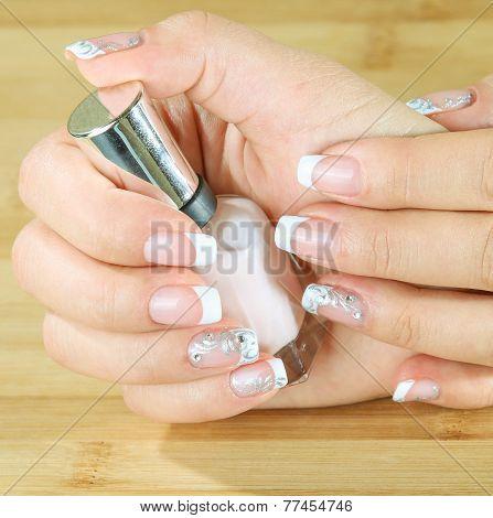 Beautiful Woman's Nails With Beautiful French Manicure.
