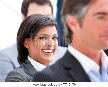 Portrait Of A Nice Businesswoman Smiling