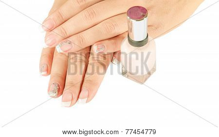 Beautiful Woman's Nails With Beautiful French Manicure Isolated On White