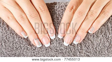 Female Soft Hands With Beautiful French Manicure