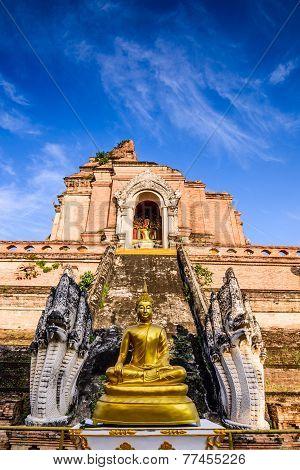Ancient pagoda at Wat Chedi Luang temple in Chiang Mai, Thailand.