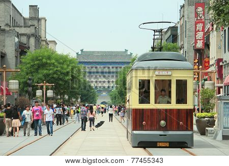 retro tramway on Qianmen street in Beijing