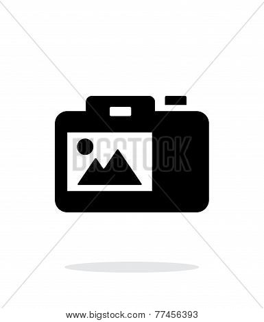 SLR camera simple icon on white background.