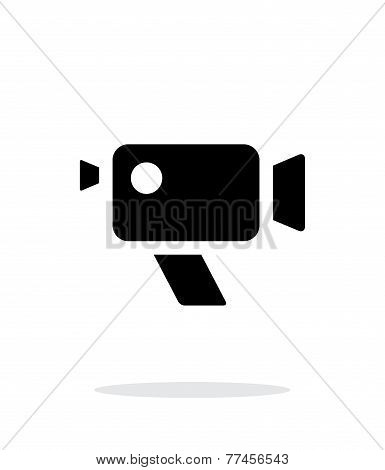 Retro camera simple icon on white background.