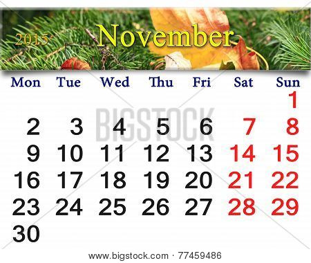 Calendar For November Of 2015 With Leaf And Spruce