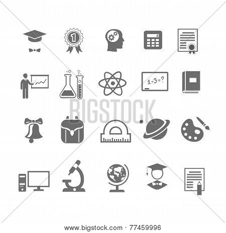 Black and white silhouette school  education icons on   illustration
