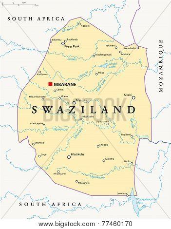 Swaziland Political Map