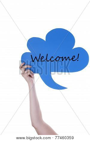 Blue Speech Balloon With Welcome