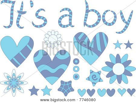 It's a boy - vector text, hearts, stars and flowers