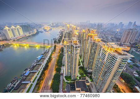 Fuzhou, China cityscape overlooking the Ming River.