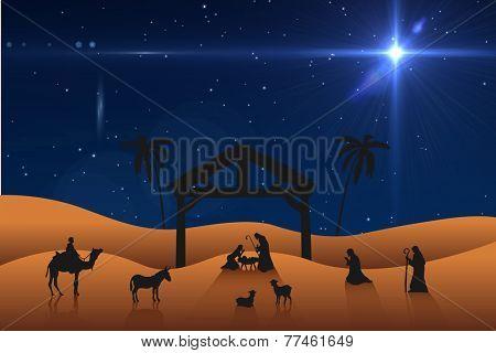 Nativity scene against bright star in night sky