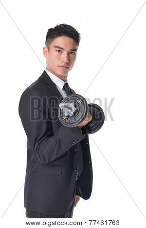 Strong business man with dumbbell isolated