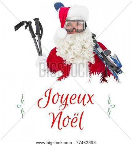 Happy santa posing with ski and ski poles against Christmas greeting card