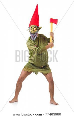 Monster man with axes isolated on white