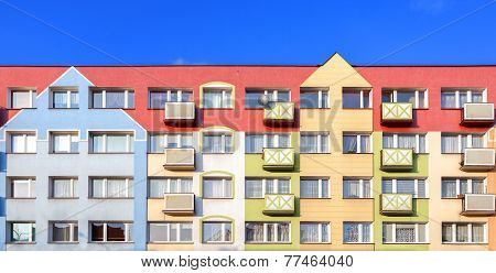 Colorful Facade Of A Residential Building.