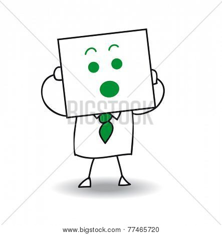 Surprised businessman. Joe is holding a sheet of paper on which is drawn a surprised face. Yes, he is very surprised, he is anonymous behind this sheet of paper.