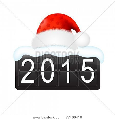 New Year Counter With Santa Hat Cap With Gradient Mesh, Vector Illustration