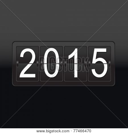 New Year Black Counter Poster, Vector Illustration