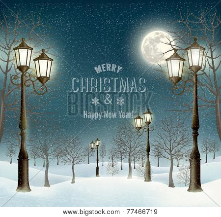 Christmas evening winter landscape with lampposts. Vector.