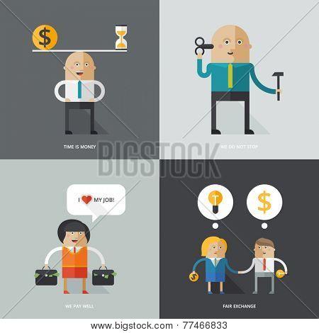 Set of flat design vector illustration concepts for business, web, mobile marketing, partnership, teamwork