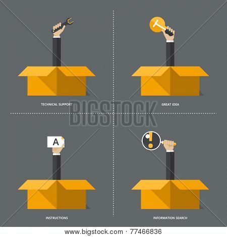 Set of flat design vector illustration concepts for business, web, mobile marketing, research,  great idea, service