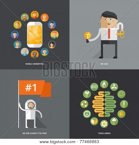 Set of flat design vector illustration concepts for business, web, mobile marketing, ecology, education
