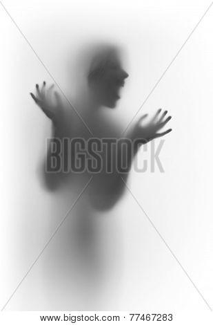 Human face silhouette shouting