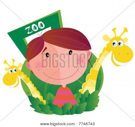 Small boy with two giraffes in zoo