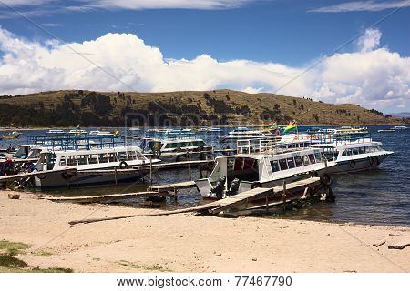 Harbor of Copacabana at Lake Titicaca, Bolivia