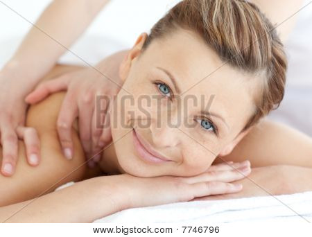 Attractive Woman Enjoying A Back Massage