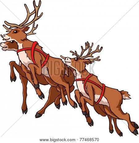 Reindeer running on white background Illustration