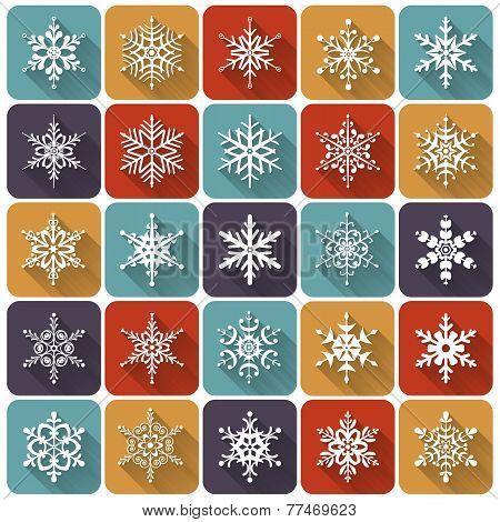 Flat Snowflakes. Vector Icons Set.