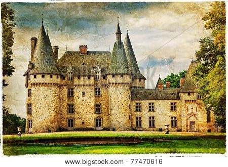medieval castle , France , artistic picture