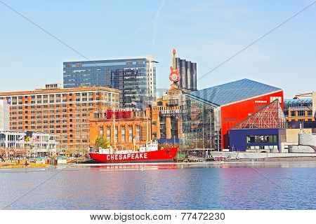 Baltimore Inner Harbor landmarks in winter
