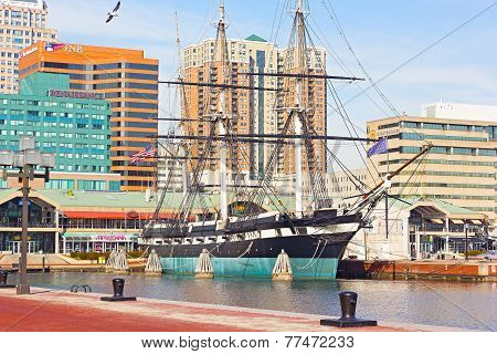 U.S.S. Constellation ship docked at Baltimore Harbor in winter