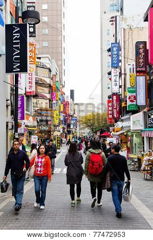 People shopping in the Myeongdong Shopping Street