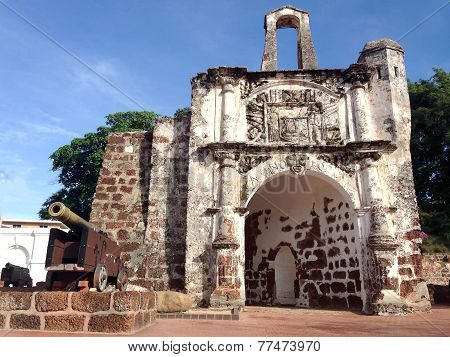 Malacca, Malaysia - May 9: The Old Architecture Of The A Famosa Portuguese Fort On May 9 2014 In Mal