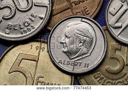 Coins of Belgium. King Albert II of Belgium depicted on the Belgian franc coin.