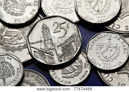 Coins of Cuba. The town of Tirnindad depicted in the Cuban 25 centavo coin of Cuban convertible peso (CUC).