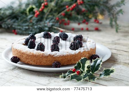 Cake Ornated With Blackberries
